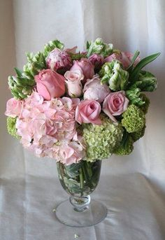 Spring Bouquet: Pink Hydrangea, Viburnum, Pink Peonies, Parrot Tulips and Pink Roses Beautiful Flower Arrangements, Pink Flowers, Floral Arrangements, Beautiful Flowers, Fresh Flowers, Beautiful Bouquets, Deco Floral, Arte Floral, Floral Design