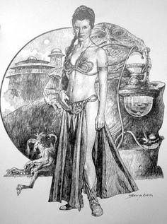Sanjulian - Comic Art Member Gallery Results - Page 7 Comic Books Art, Comic Art, Book Art, Star Wars Princess Leia, Retro Futuristic, Disney Marvel, Star Wars Art, Illustrations, Science Fiction