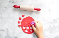 MODELING: Rolling out play dough HEART COOKIES