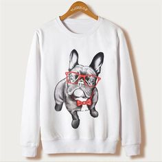 French Bull Dog Burger Womens Long Sleeve Pullover Hooded Sweatshirt Top Hoodie with Fleece Lining