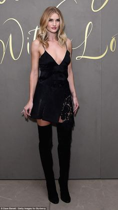 Rosie Huntington-Whiteley wearing black over-the-knee boots with black slip dress Rosie Huntington Whiteley, Asos Fashion, Fashion News, Womens Fashion, Fashion Beauty, Julia Roberts, Rihanna, Bota Over, Dior