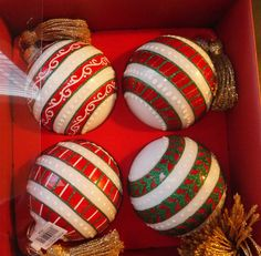Waterford Marquis Holiday Stripes Ball Set of 4 Christmas Ornament New in Box Christmas Inspiration, Beautiful Christmas, All Things Christmas, Easter Eggs, Stripes, Christmas Ornaments, Auntie, Box