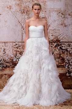 Skye by MLH: SILK WHITE SILK ORGANZA STRAPLESS SWEETHEART ASYMMETRICALLY DRAPED BODICE GOWN WITH NATURAL WAIST AND EMBROIDERED ORGANZA AND TULLE TEXTURED A-LINE SKIRT. SKYE CRYSTAL EMBELLISHED BELT. SKYE CRYSTAL BROOCH