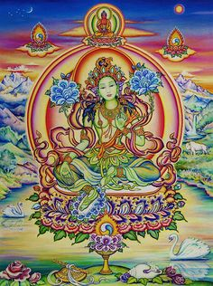 """Green Tara Buddha is almost certainly one of the most popular Yidams in Vajrayana Buddhism. In Tibetan Buddhism especially, Green Tara is accessible to all, Mother of all the Buddhas, and virtually a """"universal"""" symbol of Active Compassionate Wisdom. Tibetan Art, Tibetan Buddhism, Buddha Buddhism, Ganesha, Buddhism Symbols, Tara Goddess, Vajrayana Buddhism, Amitabha Buddha, Screensaver"""