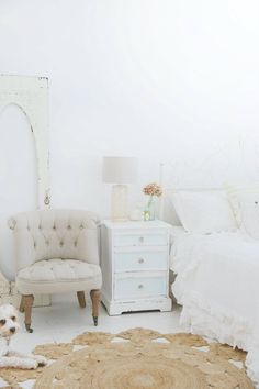 white bedroom and a pooch x