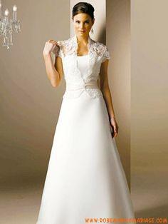 Dentelle appliques perles longue ivoire robe de mariée 2012 vintage satin avec boléro