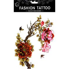 20096fcef Grashine long last and look like real temporary tattoos Large design pink  and red peony with