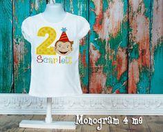 Curious George girls birthday shirt, monkey birthday, monkey by monogram4me on Etsy https://www.etsy.com/listing/235364317/curious-george-girls-birthday-shirt