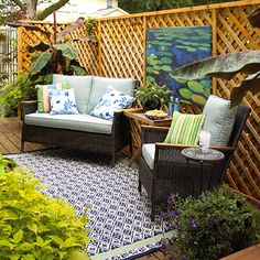 Room Idea: Just Add Art... Hang artwork on a privacy fence to give your outdoor space an indoor feel in a flash. Choose something calming, such as this lily pad canvas, or opt for something bold and modern to create visual va-va-voom.