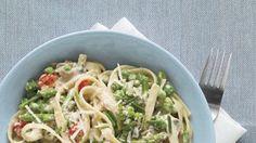 Creamy Fettuccine with Prosciutto, Asparagus, Mushrooms, and Peas Recipe | Bon Appetit