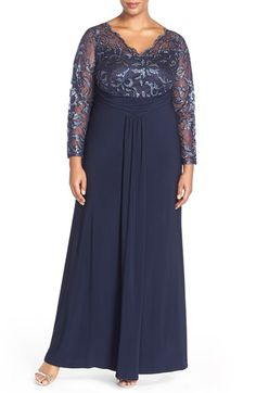 Marina Sheer Beaded Lace Sleeve Gown (Plus Size) available at #Nordstrom