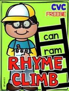 FREE CVC Words - Short Vowel Rhyme Word Work
