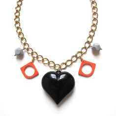 Kawaii Black Plastic Heart Necklace / Reclaimed by goldeluxe, $49.00