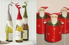 This post is not in English but pictures do the talking. NUMEROUS IDEAS for Christmas decorating - a lot making unconventional Christmas trees. Pictured: bottle & can decorations. Ideias de decoração para o Natal | Modernidade Móveis