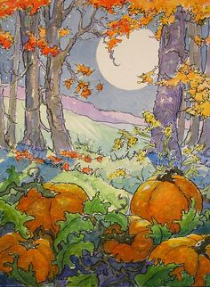 """Daily Paintworks - """"October Bounty Just in Time for Halloween Storybook Cottage Series"""" - Original Fine Art for Sale - © Alida Akers Storybook Cottage, Cottage Art, Art And Illustration, Vintage Illustrations, Pumpkin Moon, Art Fantaisiste, Art Mignon, Art Vintage, Arte Popular"""