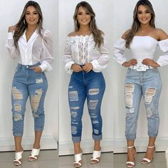 Fall Winter Outfits, Jean Outfits, Casual Looks, White Jeans, Capri Pants, Skinny Jeans, Prom, Clothes, Black