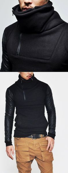 Tops :: Tees :: Re)A     Tops :: Tees :: Re)Avant-garde Quilt Leather Double Turtle-Tee 124 - Mens Fashion Clothing For An Attractive Guy Look