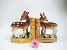 Little Fawn Ceramic Bookends by DearViolette on Etsy, $28.00 #vintage