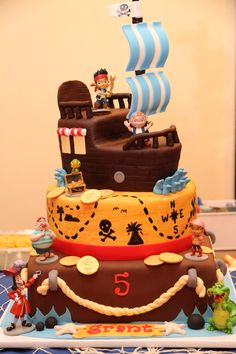 "Close up of ""Jake and the Neverland Pirates"" cake. Cake by Auntie Mia Cakes, Simi Valley, CA."
