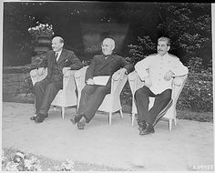 British Prime Minister Clement Attlee, President Harry S. Truman, and Soviet Prime Minister Josef Stalin, seated in the garden of Cecilienhof Palace in Potsdam, Germany, where they are attending the Potsdam Conference., 07/28/1945
