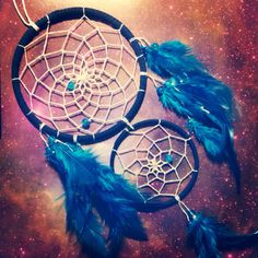 Blue double dream catcher, white web, blue feathers and bead finish 10cm diameter dreamcatcher hand made