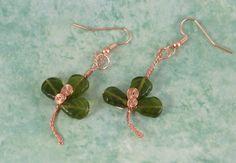 Emerald Green and Copper Shamrock Earrings Artisan Made Jewelry by EarthArtsNW, $29.99