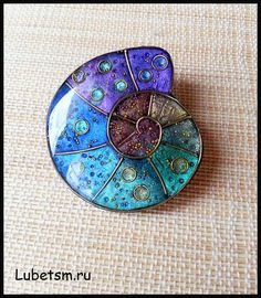 Polymer clay faux enamel brooch by Lubets.: