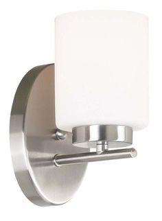 Kenroy Home 80401 Mezzanine 1 Light Wall Sconce Brushed Steel Indoor Lighting Wall Sconces Down Lighting