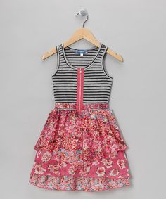 Take a look at this Gray Stripe & Pink Floral Ruffle Zipper Dress by Truly Me on #zulily today!
