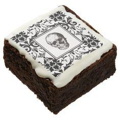 HALLOWEEN Black Gothic Damask Pattern Skull Chocolate Brownie