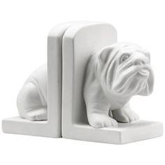 Lamps plus - Zuo Bulldog Ceramic White Bookends