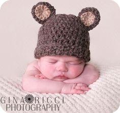 Teddy Bear Crochet Pattern Baby Beanie Fuzzy by toocutecrochet