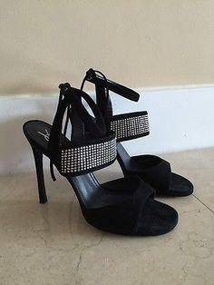 YSL Yves Saint Laurent Black Suede Woman Sandals Heels Pumps Size 40