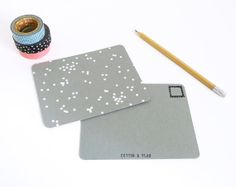 Grey+Confetti+Postcards++Set+of+4+by+cottonandflaxshop+on+Etsy,+$6.00