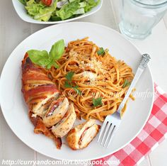 Kitchen Simmer: Pizza Stuffed Bacon Wrapped Chicken with Pasta (Day 3 of Bacon Week) # baconweek