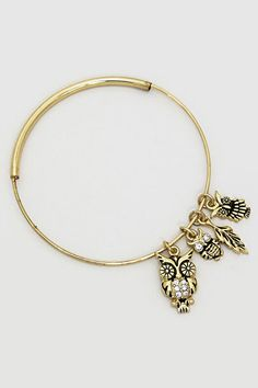 Owl Triplet Bracelet in Gold on Emma Stine Limited