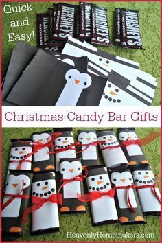 In just a few minutes, a simple Hershey bar can become a penguin or a snowman – thank you Pinterest!   Look how adorable these are: I found the free printables for these candy bar wrappers here.  You'll find other wrappers there beyond snowmen and penguins – those two were just my favorites. :)  We're …