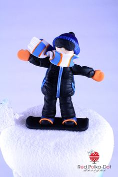 Snowboarder fondant figurine, by Red Polka-Dot Designs
