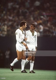 1979, Johan Cruyff, right, who played a number of exhibition games for New York Cosmos, pictured with Cosmos star Franz Beckenbauer, Johan Cruyff, one of the greatest players of all time won 48 international caps for Holland