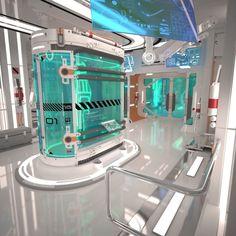 Scifi Laboratory model - HIGH POLY model of Futuristic Sci Fi Laboratory Interior. Design made by my self - cermaka. Spaceship Interior, Futuristic Interior, Futuristic Design, Futuristic Architecture, Technology World, Futuristic Technology, Technology Design, Technology Gadgets, Tech Gadgets