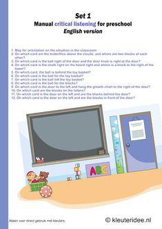 Critical listening for preschool ,English manual, set kleuteridee. Language Activities, Toddler Activities, Pre School, Free Printables, English, Letters, Map, Education, Cards