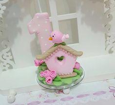 Velinha decorada em biscuit 8 cm de altura