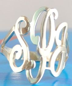 Monogram Cut Out Sterling or Gold 3 Initial Ring