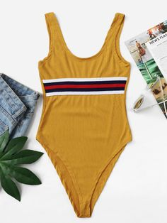 bb3a8dbe47 Product name: Stripe Print Ribbed Tank Bodysuit at SHEIN, Category:  Bodysuits