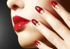 20 Extremely Cute Half-moon Nail Art Designs You Must Try: Red Nails with Gold Half-moon Manicure