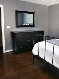 Anonymous by Behr // 7thhouseontheleft.com.  Thinking about painting my bedroom this shade of grey and I already have black furniture.