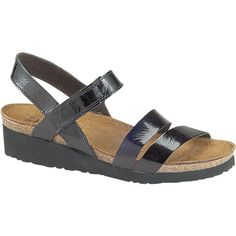 Naot Women's Kayla, Style #: 7806-501 in Black Patent | The Naot Kayla sandal is ideal for everyday wear and travel alike. The straps of the leather upper are placed to provide optimum support when walking, a hook loop closure at the instep allows you to adjust for a secure fit, while the heel strap enhances stability. The Naot Kayla sandal is finished with a cushy EVA sole for ultimate comfort with every step. Women's Elegant Footbed. | Naot Shoes available at www.TheShoeMart.com #TheShoeMart