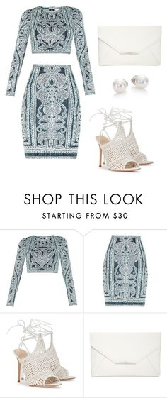"""Untitled #365"" by aubreyyynicole on Polyvore featuring Hervé Léger, Gianvito Rossi, Style & Co. and Mikimoto"