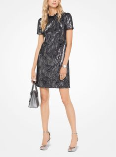 Featuring a ruffled neckline and peaked shoulders, this shift dress boasts opulent texture with allover sequins and a lace overlay. Complete the look with a metallic crossbody and pumps. Sequin Cocktail Dress, Sequin Dress, Cocktail Dresses, White Shift Dresses, Dresses For Work, Michael Kors Looks, Manu Garcia, Clubwear Dresses, Lace Overlay Dress