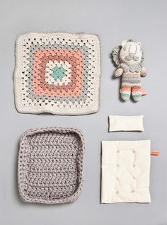 Couverture and The Garbstore - Childrens - Miga De Pan - Ander Medium Crochet Lion Rattle Toy and Bed Set too cute